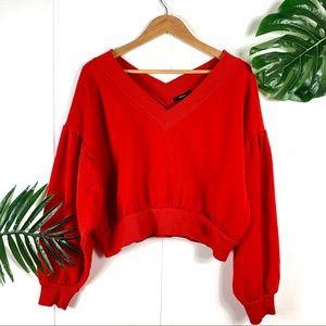 FOREVER 21 Red Drop Shoulder Crop Sweater Medium